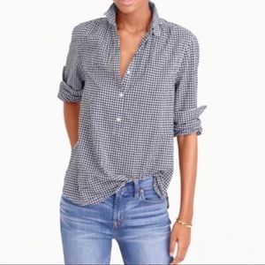 J Crew Micro Gingham Gathered Popover Button Up